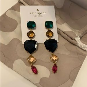 Kate Spade multicolor crystal linear drop earrings